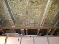 LVL installed so load-bearing wall could be removed in kitchen remodel in Charlotte, NC.