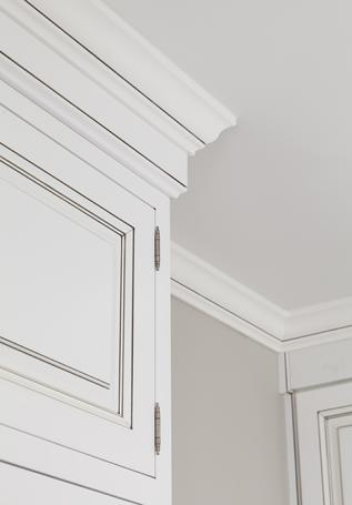 Inset cabinetry with exposed hinges and pewter glaze in Charlotte, NC.